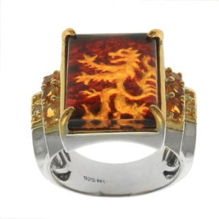 Michael Valitutti Palladium Silver Men's Carved Tiger Amber and Citrine Ring
