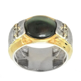 Michael Valitutti Palladium Silver Men's Cat's Eye Siliminite White Topaz Ring