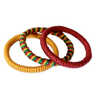 Set of 3 Handcrafted Rattan Polyester 'Joy' Bracelets (Ghana)