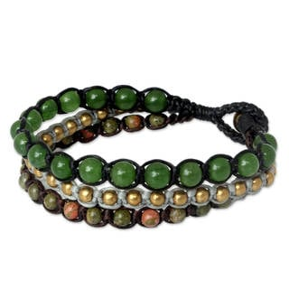 Handcrafted Brass 'Urban Colors' Unakite Quartz Bracelet (Thailand)