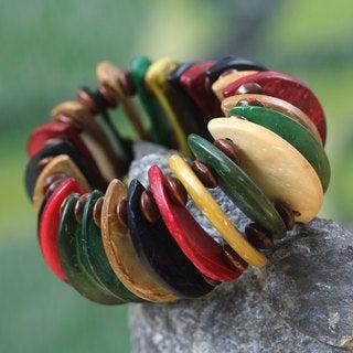Handcrafted Coconut Shell Sese Wood 'Naa Awula' Bracelet (Ghana)
