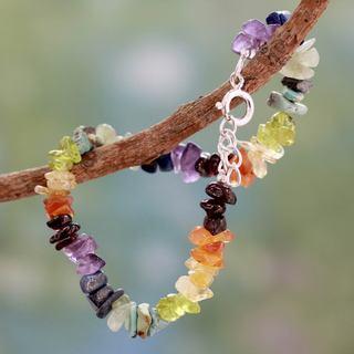 Sterling Silver 'Tranquil Mind' Multi-gemstone Bracelet (India)