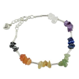 Sterling Silver 'Peace Within' Multi-gemstone Bracelet (India)