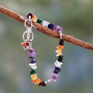 Sterling Silver 'Rite of Peace' Multi-gemstone Bracelet (India)