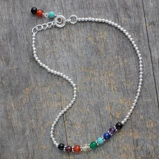 Sterling Silver 'Peace and Light' Multi-gemstone Anklet (India)
