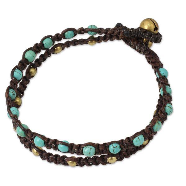 Handmade Brass 'Aqua Boho Chic' Calcite Bracelet (Thailand) 15065383