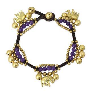 Handcrafted Brass 'Fortune's Melody' Quartz Bracelet (Thailand)