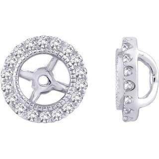 14k White Gold 1/4ct TDW Halo Diamond Earring Jackets (G-H, I2-I3)