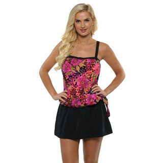 Maxine of Hollywood Women's Pink Blouson Tankini with Hi-Waist Skirt Pant