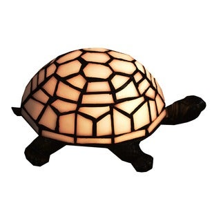Tiffany-style Turtle 1-light White Accent Lamp