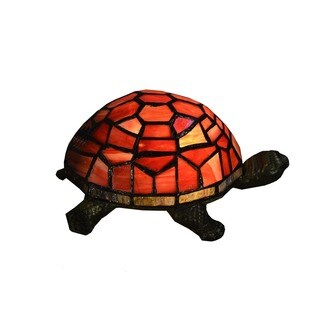 Tiffany-style Turtle 1-light Red Accent Lamp