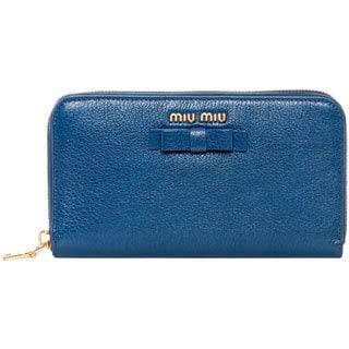 Miu Miu Madras Blue Zip-Around Wallet with Bow