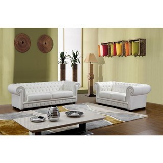 Will White Italian Leather Transitional Sofa