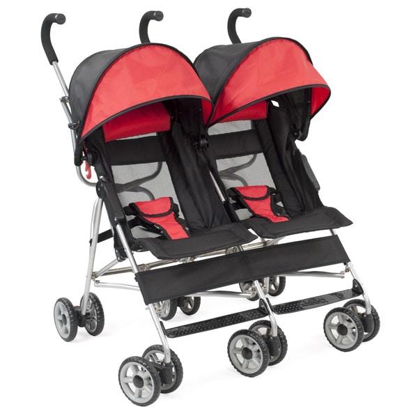 Kolcraft Cloud Side-by-side Umbrella Stroller in Scarlet
