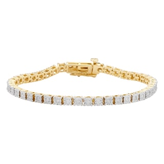 Yellow Goldplated Sterling Silver 1ct. TDW Diamond Tennis Bracelet (H-I, I2-I3)