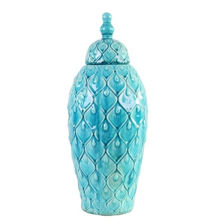 Feathered Textured Turquoise Blue Tall Urn