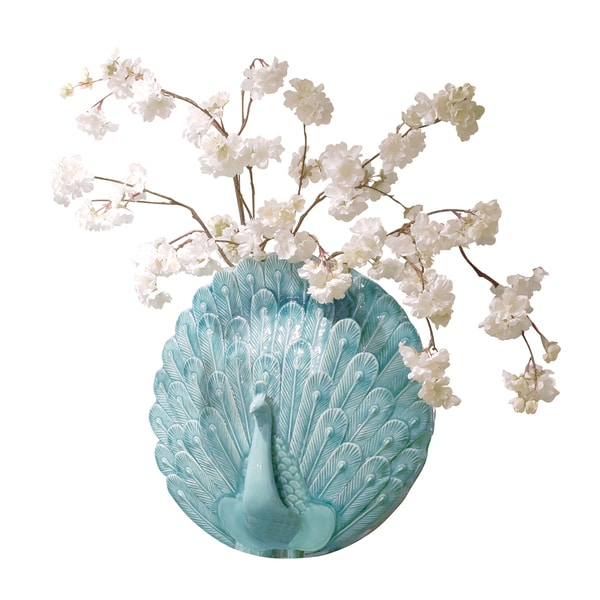 Turquoise Blue Peacock Wall Vase