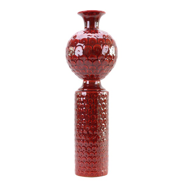 Scalloped Textured Scarlet Red Tall Vase