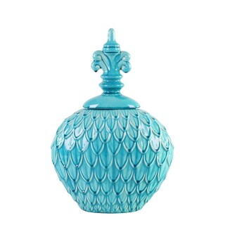 Feathered Textured Turquoise Blue Small Urn