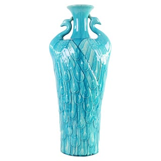 Turquoise Blue Peacock Tall Vase