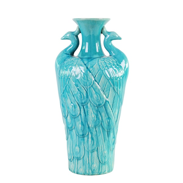 Turquoise Blue Peacock Small Vase