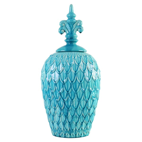 Feathered Textured Turquoise Blue Medium Urn