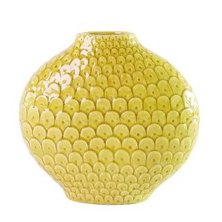 Scalloped Textured Citrine Yellow Small Vase