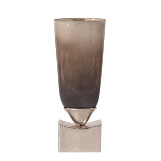 Pearlized Antique Glass with Rustic Metal Base Small Vase