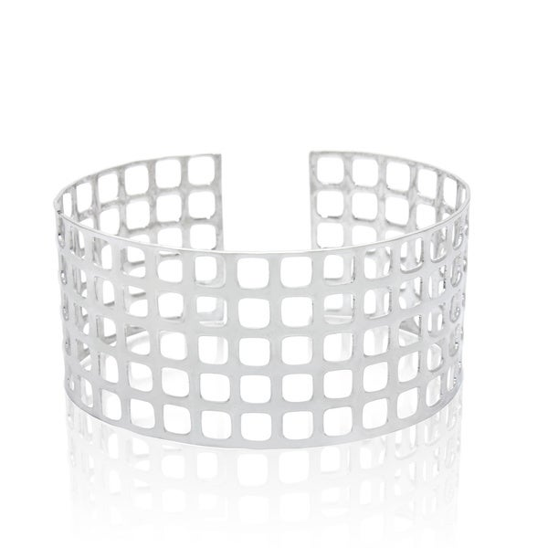 Sterling Silver Open Sqaures Cuff Bangle Bracelet