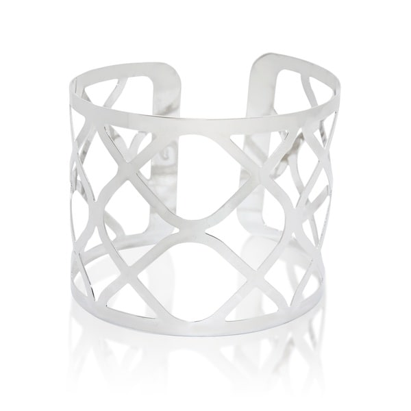 Sterling Silver Weaved Design Cuff Bangle Bracelet