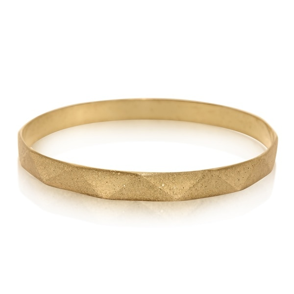 Sterling Silver Yellow Gold Plated Sparkle Bangle Bracelet