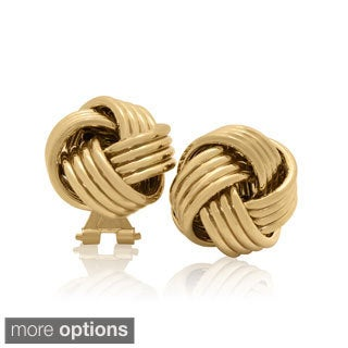 Sterling Silver Gold Plated Omega Love Knot Stud Earrings