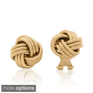 Sterling Silver Gold Plated Omega Tri Strand Love Knot Stud Earrings