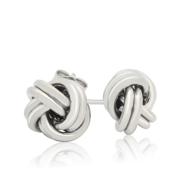 Sterling Silver Gold Plated Love Knot Stud Earrings