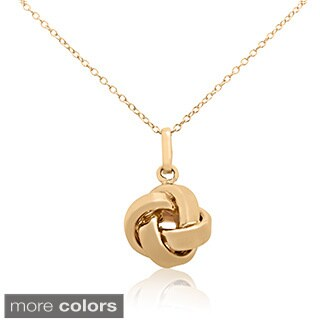 Sterling Silver Goldplated Love Knot Pendant Necklace