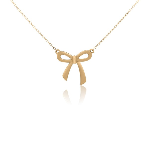14KT Yellow Gold Ribbon Pendant Necklace