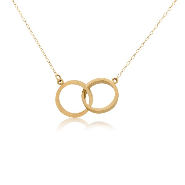 14KT Yellow Gold Double Ring Pendant Necklace