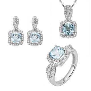 Rhodium-plated Brass Diamond Accent and Blue Topaz 3-piece Jewelry Set