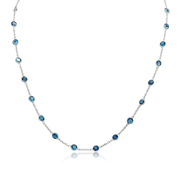 Sterling Silver Multi Channel-Set London Blue Topaz Station Necklace