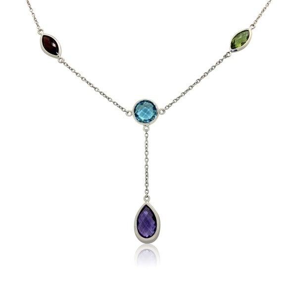 Sterling Silver Briolette Gemstone Lariat Necklace