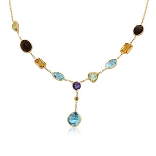 Sterling Silver Yellow Gold Plated Multi Gemstone Lariat Necklace