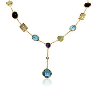 Sterling Silver Yellow Gold Plated Checkerboard Gemstone Lariat Necklace