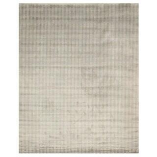 EORC Handmade Silver Shimmering Viscose Rug (7'9 x 9'9)