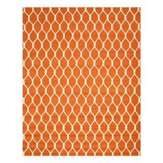 EORC Hand-tufted Orange Wool Chain-Link Rug (8'9 x 11'9)