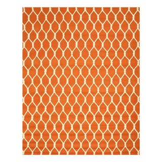 EORC Hand-tufted Orange Wool Chain-Link Rug (7'9 x 9'9)