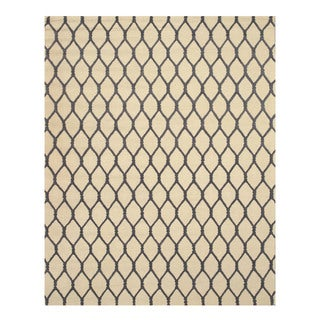 EORC Hand-tufted Wool Ivory Chain-Link Rug (8'9 x 11'9)