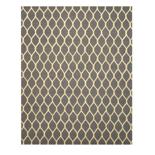 EORC Hand-tufted Charcoal Wool Chain-Link Rug (5' x 8')