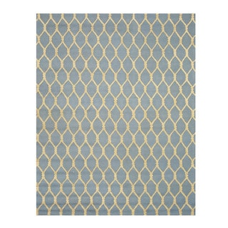 EORC Hand-tufted Blue Wool Chain-Link Rug (8'9 x 11'9)