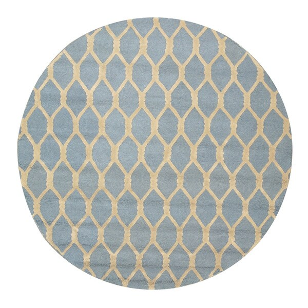 EORC Hand-tufted Blue Wool Chain-Link Rug (4' Round)
