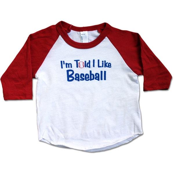 """Rocket Bug """"I'm Told I Like Baseball"""" Baby T-shirt"""